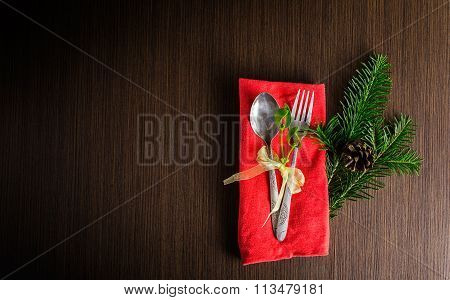 Christmas Table Cutlery With Christmas Pine Branches,ribbon And Bow