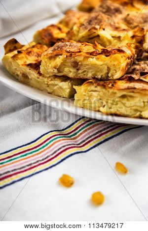 Pie Slices Of Cheese And Raisins