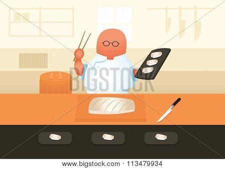 Master Sushi Chef Serve Sushi