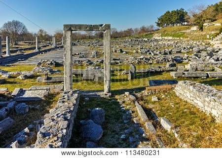 Ruins of entrance in the archeological area of ancient Philippi, Eastern Macedonia and Thrace