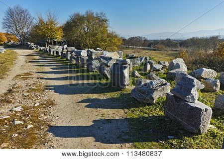 Ruins in the archeological area of ancient Philippi