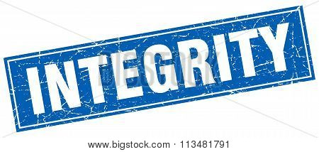 Integrity Blue Square Grunge Stamp On White