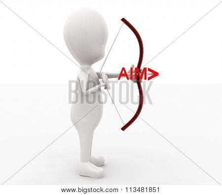 3D Man Holding Arrow And Bow With Aimtext Projeced In Arrow Concept