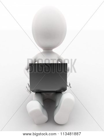 3D Man Using Laptop  On His Lap Concept