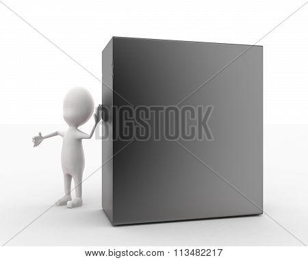 3D Man Presenting Cpu Concept