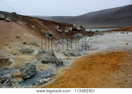 Sulfur ground near volcano Krafla, Iceland