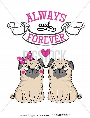 Greeting Card with funny Pug