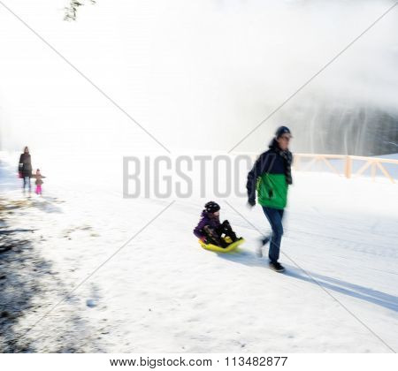 Father With  Daughter In A Sleigh Ride