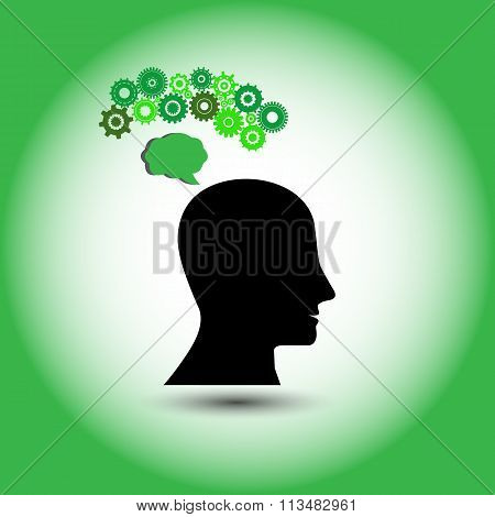 Concept of human thinking Green, Innovative ideas, this also represents creative mind and innovation