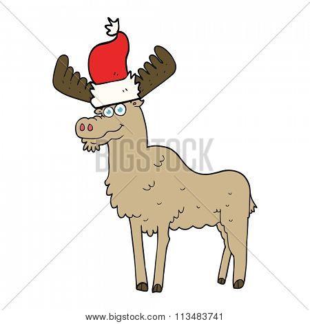 freehand drawn cartoon christmas moose