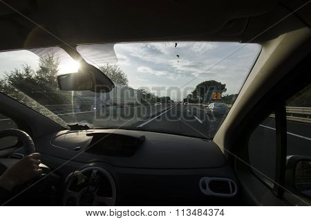Driving A Car On A Motorway
