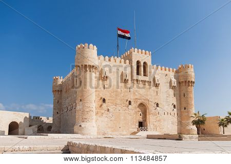 Citadel Of Qaitbay Fortress And Its Main Entrance Yard, Alexandria, Egypt.