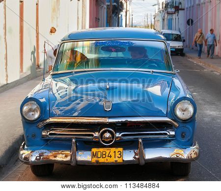Matanzas, Cuba - February 5, 2008. Classic Oldtimer Car Parked On Street. Most Of The Cubans Drive C