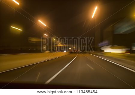 Night View Of A Car