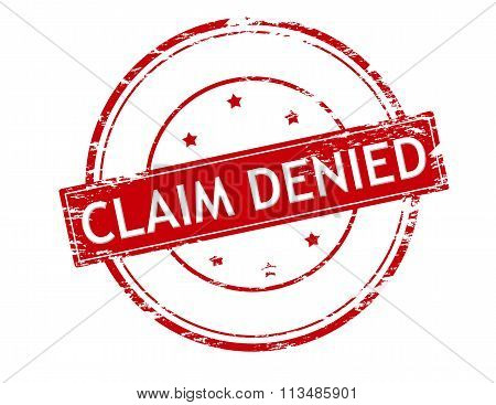 Rubber stamp with text claim denied inside vector illustration