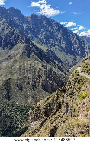 Deepness Of The Colca Canyon In Peru