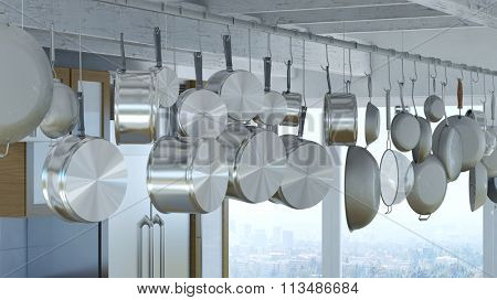 Hanging rack for many pots and pans in a modern kitchen (3D Rendering)