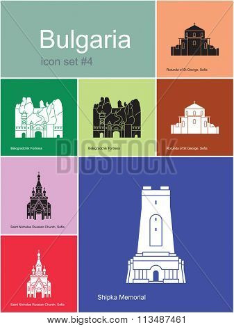 Landmarks of Bulgaria. Set of color icons in Metro style. Raster illustration.