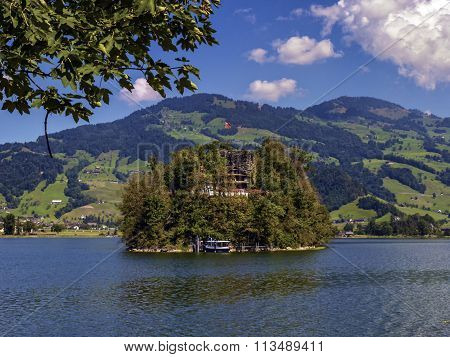 Burgruine castle on Schwanau island in lake Lauerz, Schwyz, Switzerland