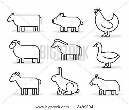 Vector Line Farm Animals Icon Set. Geometric Linear Cow, Pig, Ch