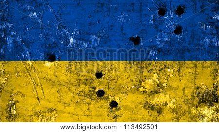 Flag of Ukraine, Ukrainian flag painted on metal texture with bullet holes