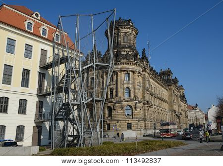 View Along Schiessgasse From Corner Of Landhaus Street, Dresden, Germany.