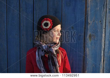 Girl Near Wooden Fence
