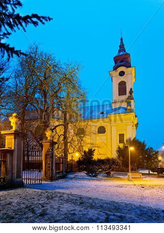 Catholic Church In The Christmastime, Town Of Postoloprty