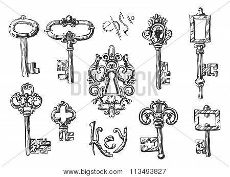 sketch vintage key