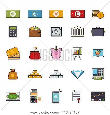 Finance and money filled line icon vector set. Collection of money, finance and banking related line icons with color fill