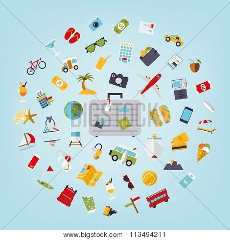 World of travel and vacations. Vector concept illustration of world travel and vacations