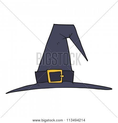 freehand drawn cartoon witch hat