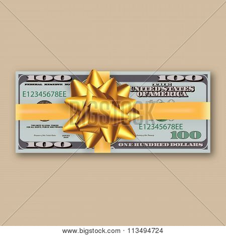 bundle of dollars, gold ribbon with bow