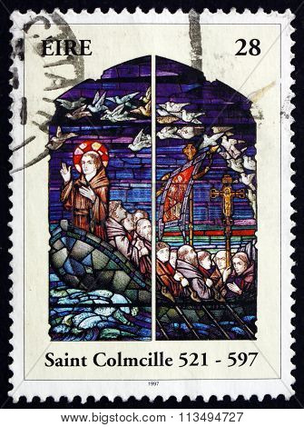 Postage Stamp Ireland 1997 St. Columba, Irish Patron Saint