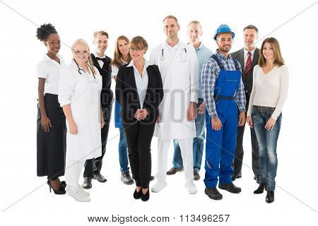 Group Portrait Of Confident People With Various Occupations