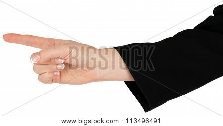 Female hand pointing with finger