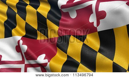 US state flag of Maryland with great detail waving in the wind.