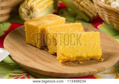 Traditional Brazilian Fuba Cake.