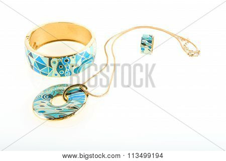 jewelry necklace and bracelet with ring