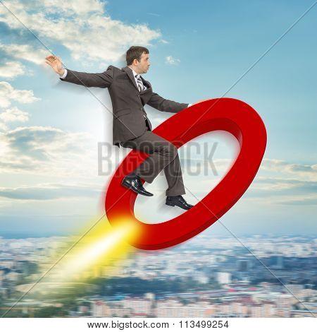 Businessman flying on zero sign