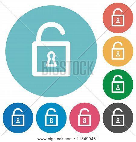 Flat Unlocked Padlock Icons