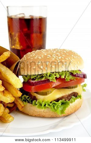 Cropped Image Of Cheeseburger,french Fries,glass Of Cola On Plat