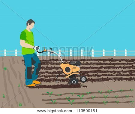Man plows the field in the country a new cultivator for planting harvest. Vector illustration
