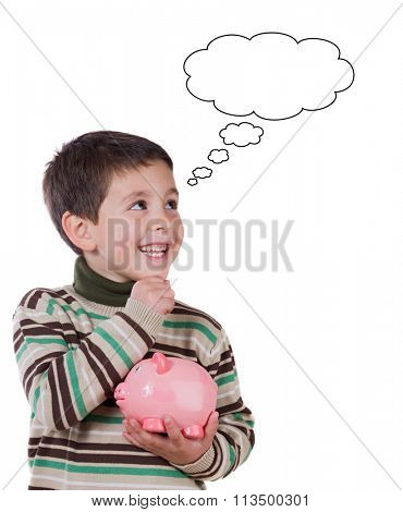 Smiling child with a moneybox thinking isolated on a white background