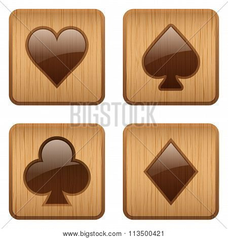 Casino wooden square icon card suits