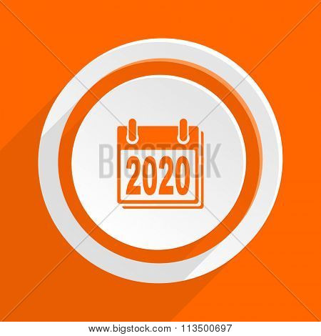 new year 2020 orange flat design modern icon for web and mobile app