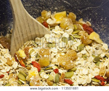 Healthy mix of seeds and dried fruit