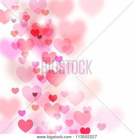 Abstract Romantic Background With Flying Hearts