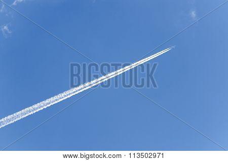 A jet plane trail