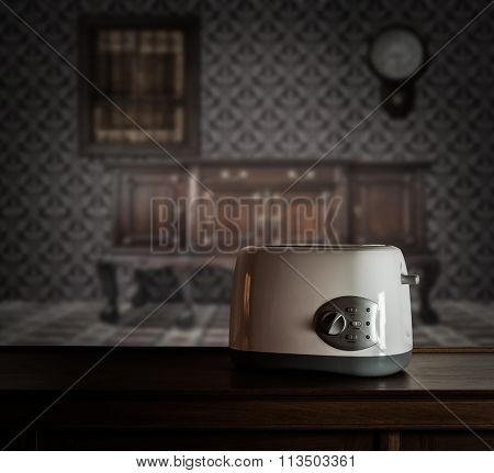 Toaster On Wooden Cupboard